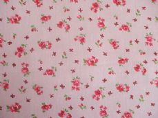ROSE FLORAL100% COTTON FABRIC SHABBY CHIC VINTAGE RETRO PER METRE PINK NO2